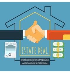 Hands handshake estate deal concept vector