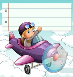 Line paper design with boy on airplane vector