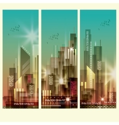 Modern cityscapes 3 vertical banners vector image vector image