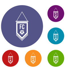 Pennant with soccer ball icons set vector