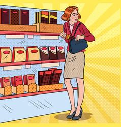 Pop art woman stealing food in supermarket vector
