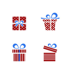 red and blue gifts icon set on white background vector image vector image
