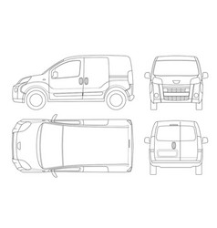small van car in lines isolated car template for vector image vector image
