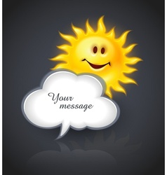 Smiling sun and cloud for vector image vector image