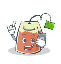 Tea bag character cartoon with phone vector