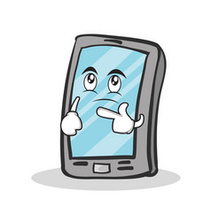 Thinking face smartphone cartoon character vector