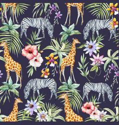 Tropical wildlife pattern vector
