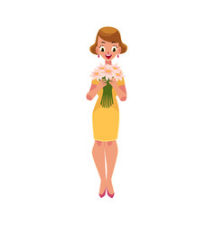 Woman girl in yellow dress holding bunch of daisy vector