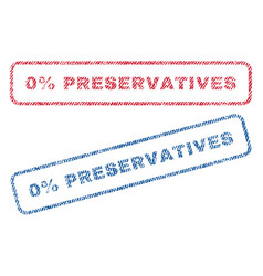 0 percent preservatives textile stamps vector image vector image