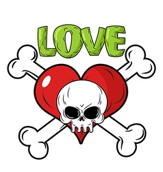 Skull and heart love to death is an emblem for vector
