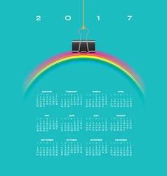A 2017 Calendar with Rainbow vector image