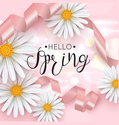 Hello spring pink background with daisy flower vector