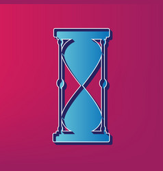 Hourglass sign blue 3d vector