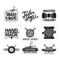 tailor salon advertisement logotypes set of logos vector image