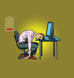 businessman sleeping at the computer vector image