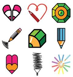 logo icons pencil vector image