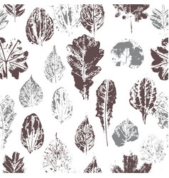 seamless pattern with stamp leaves vector image