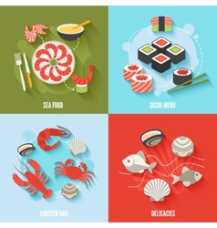 Seafood flat set vector