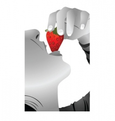 Eat strawberry vector