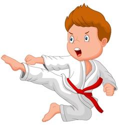 Little boy training karate vector image