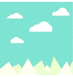 Clouds and mountains background flat web vector