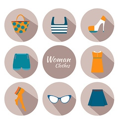 Woman clothing icon set vector
