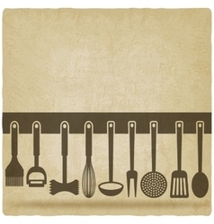 Kitchen utensil set old background vector
