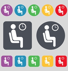 Waiting icon sign a set of 12 colored buttons flat vector