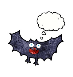 Cartoon bat with thought bubble vector