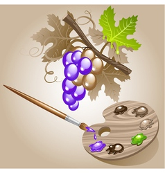 Grape paint brush vector