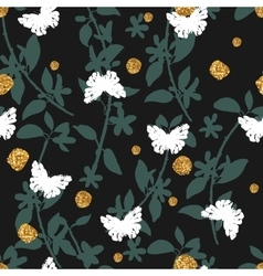 Seamless pattern with hand drawn butterflies and vector