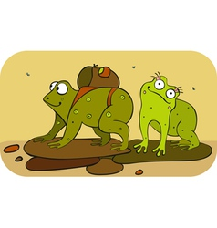 Frogs hiker vector