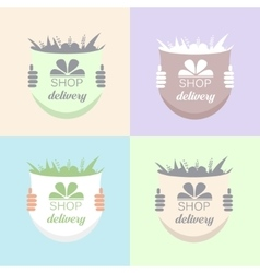 Flowers delivery icons set vector