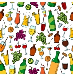 Birthday party drinks and fruits seamless pattern vector