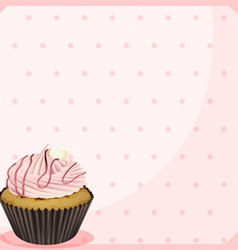 A polka dot stationery with a cupcake vector image
