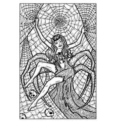Arachne spider woman engraved fantasy vector