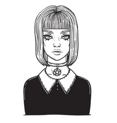 Beautiful gothic girl with pentagram amulet vector