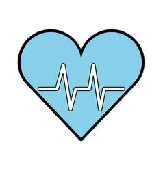 blue heart beat pulse vector image vector image