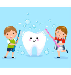 Boy and girl brushing white tooth vector