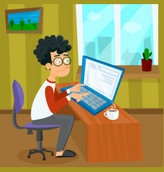 cartoon young programmer man is working vector image