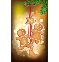 Christmas cookies on the Christmas tree vector image vector image