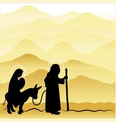christmas nativity mary and joseph 4 vector image