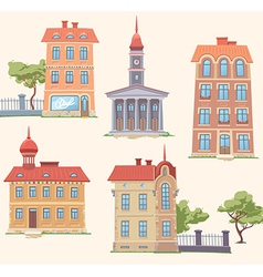 Classic buildings set vector