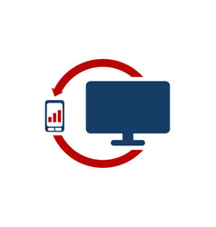 computer phone data transfer vector image
