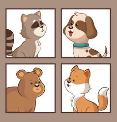 Cute animals funny image vector
