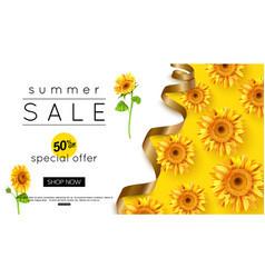 Design summer sale banner with sunflower vector