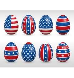 Easter eggs USA colors flags set vector image