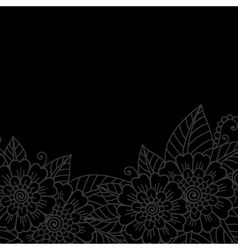 Flower ornament frame vector