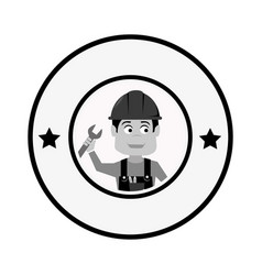Grayscale circular frame with engineer with helmet vector
