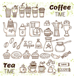 Hand draw coffee and tea collection Sketch doodles vector image vector image